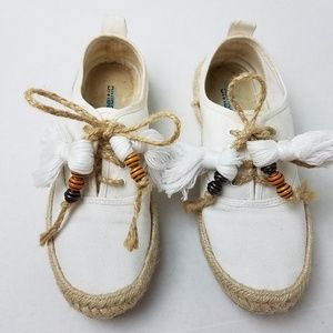 DIVIDED White Weeved Boho Lace Up Espadrilles